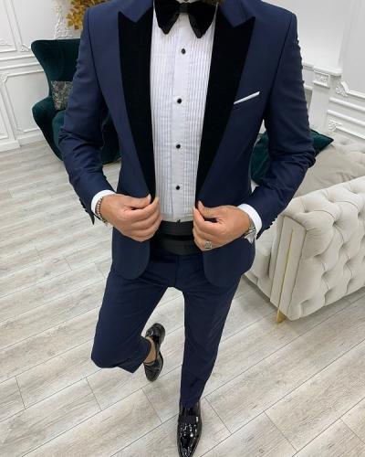 Navy Blue Slim Fit Velvet Peak Lapel Cummerbund Tuxedo for Men by GentWith.com with Free Worldwide Shipping