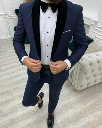 Navy Blue Slim Fit Velvet Shawl Lapel Cummerbund Tuxedo for Men by GentWith.com with Free Worldwide Shipping
