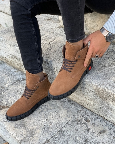 Tan Wing Tip Suede Lace Up Chukka Boots for Men by GentWith.com with Free Worldwide Shipping