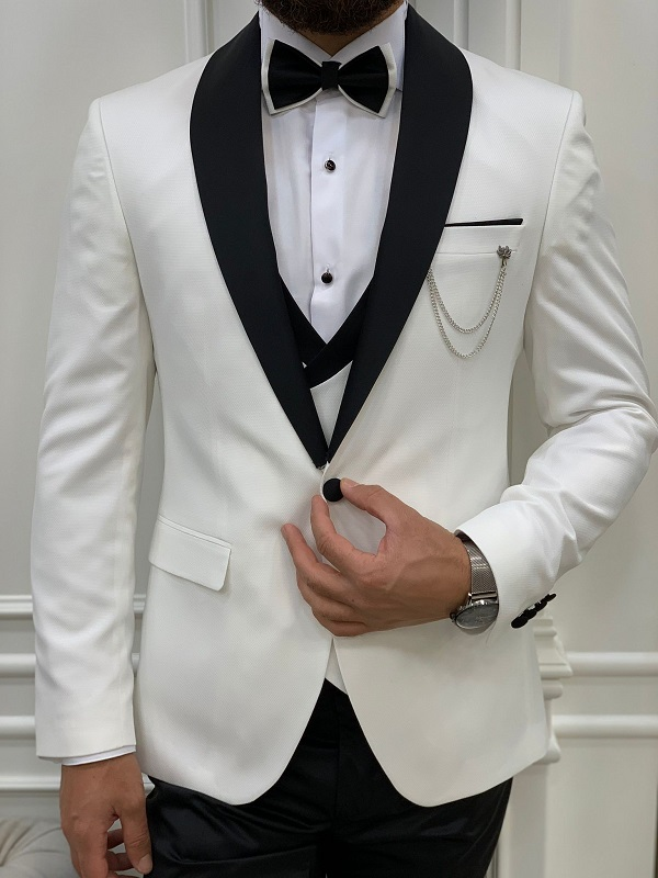 White Slim Fit Shawl Lapel Tuxedo for Men by GentWith.com with Free Worldwide Shipping