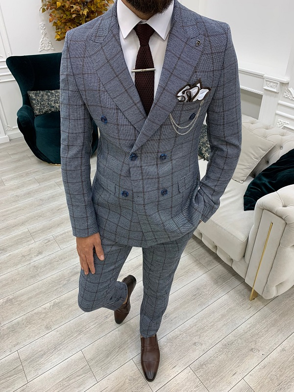 Blue Slim Fit Double Breasted Plaid Suit for Men by GentWith.com with Free Worldwide Shipping
