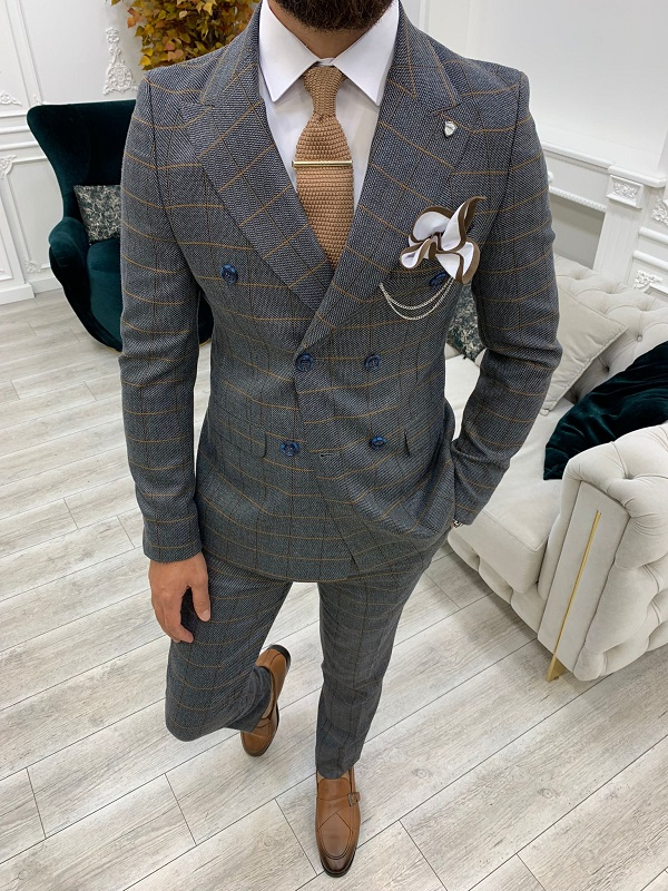 Dark Gray Slim Fit Double Breasted Plaid Suit for Men by GentWith.com with Free Worldwide Shipping