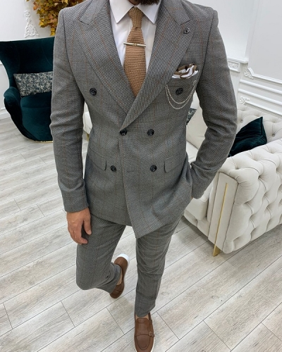 Light Brown Slim Fit Double Breasted Plaid Suit for Men by GentWith.com with Free Worldwide Shipping