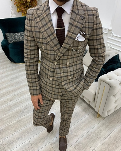 Brown Slim Fit Double Breasted Plaid Suit for Men by GentWith.com with Free Worldwide Shipping