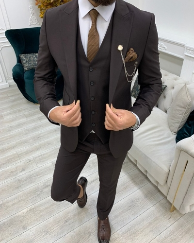 Coffee Slim Fit Peak Lapel Suit for Men by GentWith.com with Free Worldwide Shipping