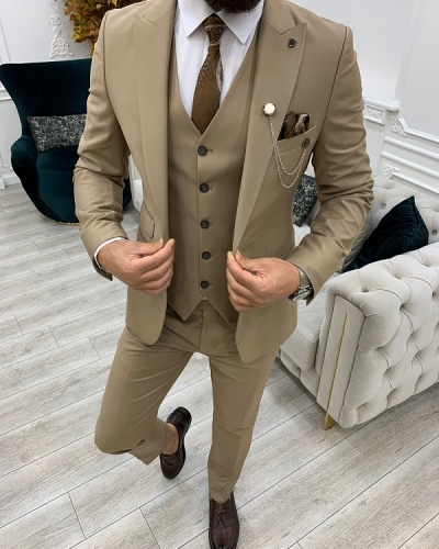 Cream Slim Fit Peak Lapel Suit for Men by GentWith.com with Free Worldwide Shipping