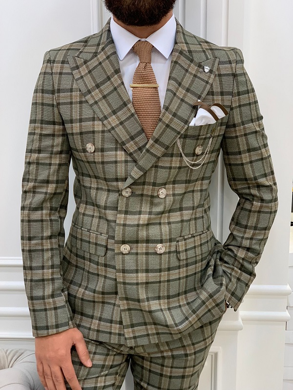 Khaki Slim Fit Double Breasted Plaid Suit for Men by GentWith.com with Free Worldwide Shipping
