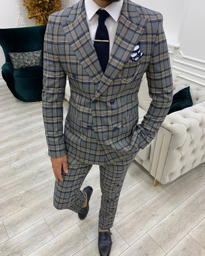 Navy Blue Slim Fit Double Breasted Plaid Suit for Men by GentWith.com with Free Worldwide Shipping