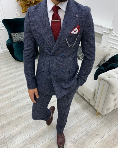 Navy Blue Slim Fit Double Breasted Suit for Men by GentWith.com with Free Worldwide Shipping