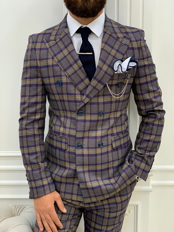 Purple Slim Fit Double Breasted Plaid Suit for Men by GentWith.com with Free Worldwide Shipping