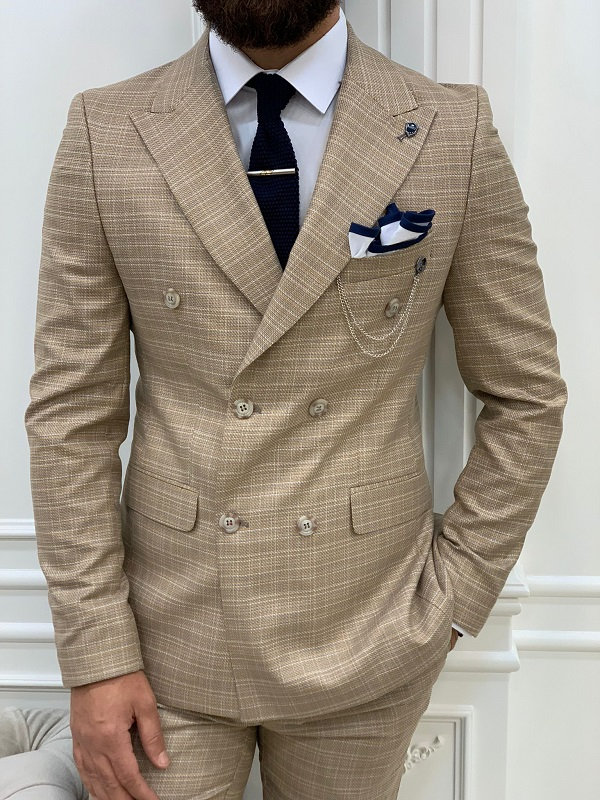 Yellow Slim Fit Double Breasted Striped Suit for Men by GentWith.com with Free Worldwide Shipping
